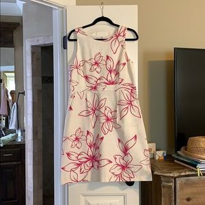 White with pink Flowers dress... with pockets!